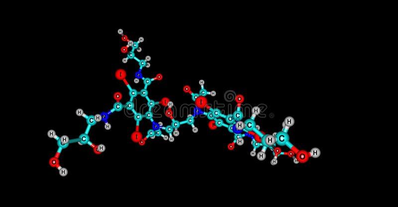Iodixanol-Molek?lstruktur lokalisiert auf Schwarzem stock abbildung