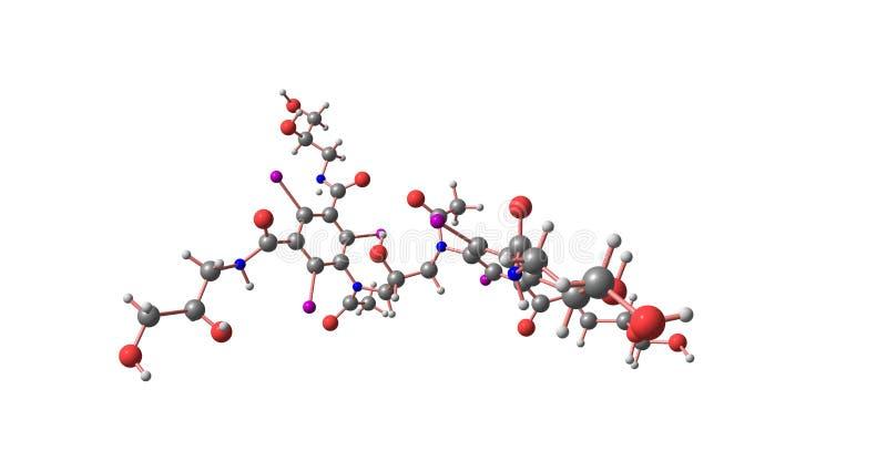 Iodixanol-Molek?lstruktur lokalisiert auf Wei? stock abbildung