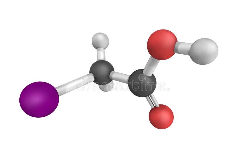 Iodoacetic zuur, een giftige samenstelling, omdat, als vele alkyl hal royalty-vrije stock foto's