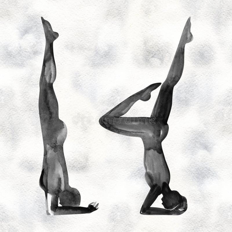 Ioga, abrandamento e medita??o praticando Silhueta da aquarela ilustração stock