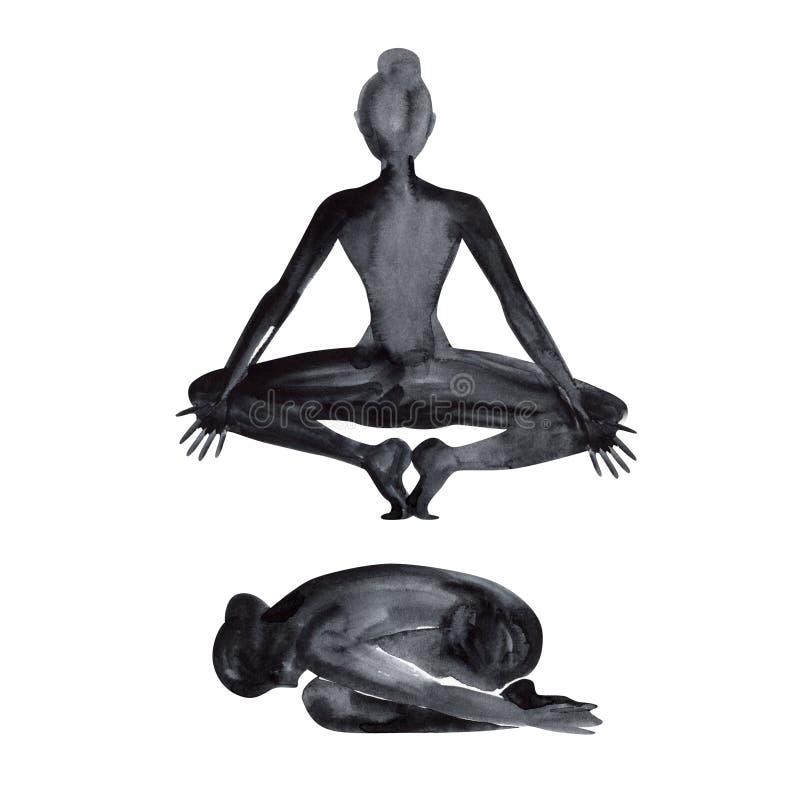 Ioga, abrandamento e medita??o praticando Silhueta da aquarela ilustração do vetor