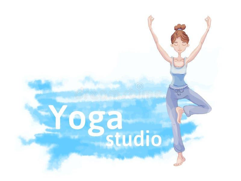 Ioga bonito nova da prática da menina, estando em um pé na posição de Lotus ilustração royalty free