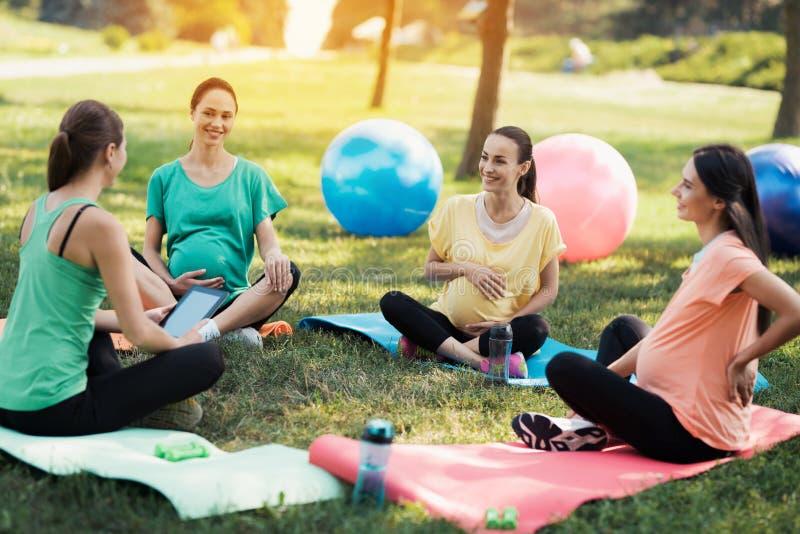 Ioga da gravidez Um instrutor fêmea senta-se na frente de três mulheres gravidas que vieram à ioga fotografia de stock