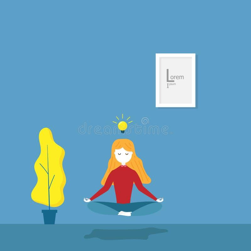 Ioga da meditação das práticas da menina ilustração stock