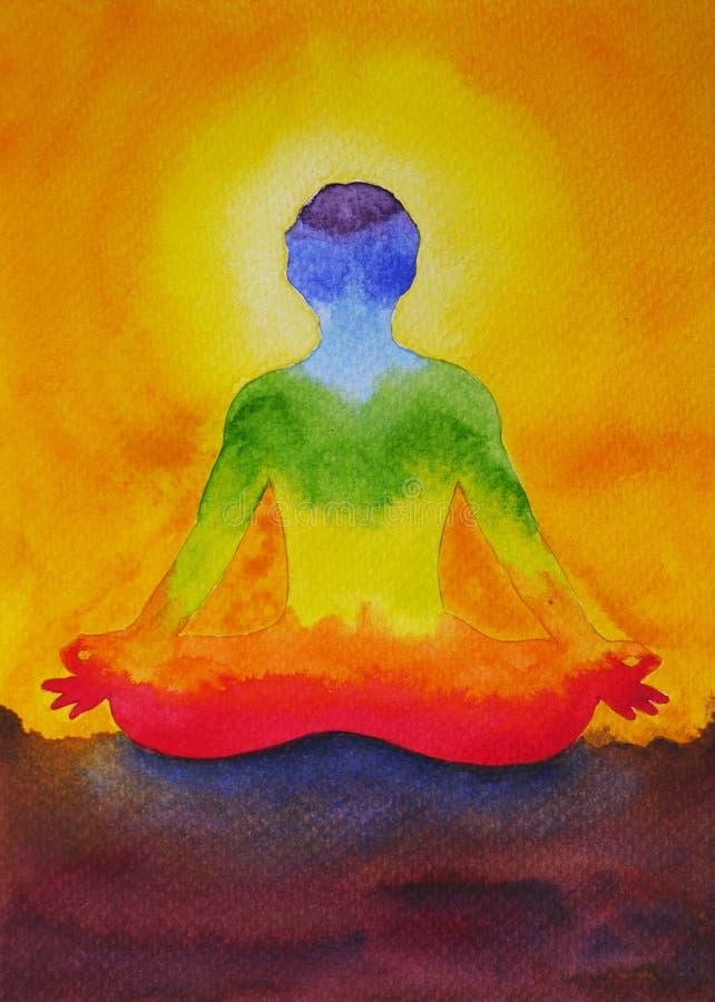 Ioga da pose de Lotus com mão do mudra, pintura da aquarela no nascer do sol, ilustração stock