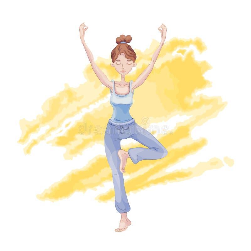 Ioga da prática da moça, estando em um pé na posição de Lotus ilustração royalty free