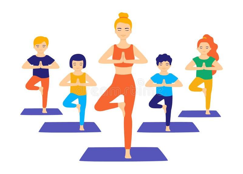 Ioga do grupo para crianças Crianças de ensino ioga com a ajuda de um instrutor adulto As crianças fazem a ioga, ginástica, aquec ilustração royalty free