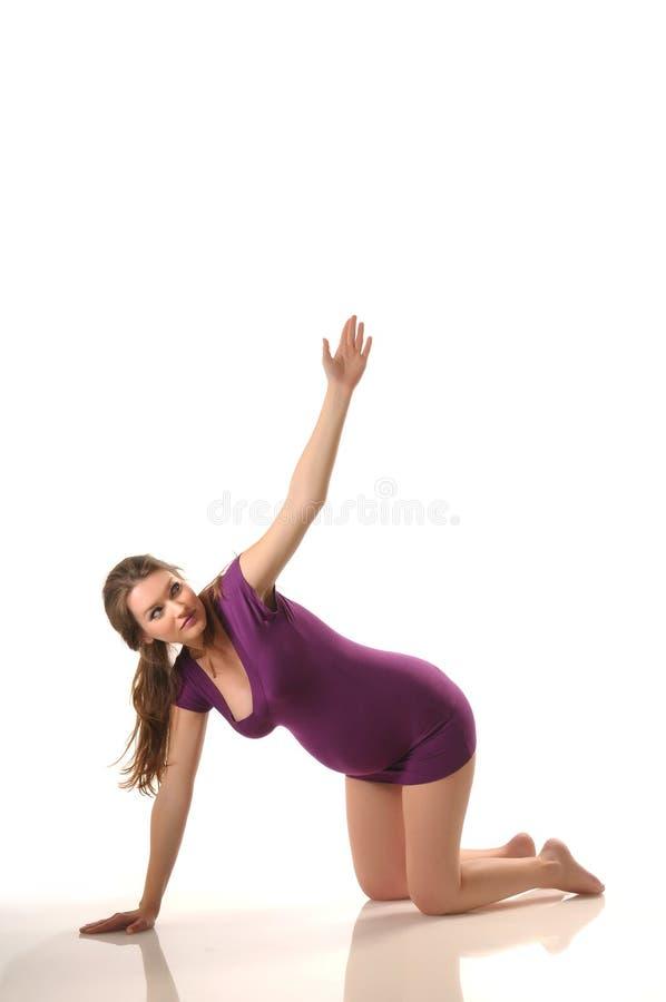 Ioga durante a gravidez fotografia de stock royalty free