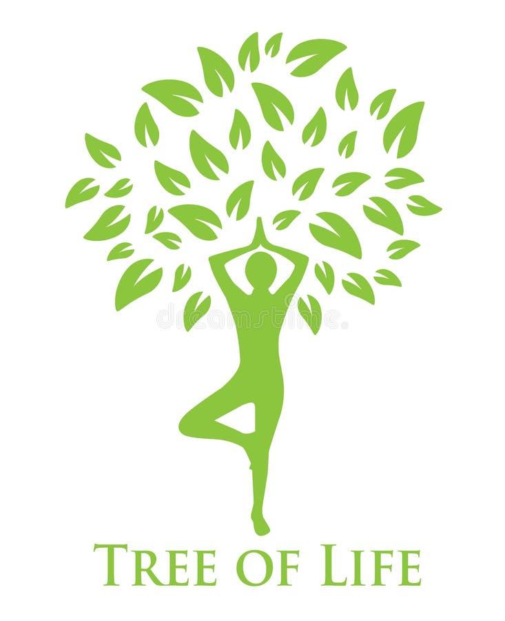 Ioga e a árvore de vida ilustração royalty free