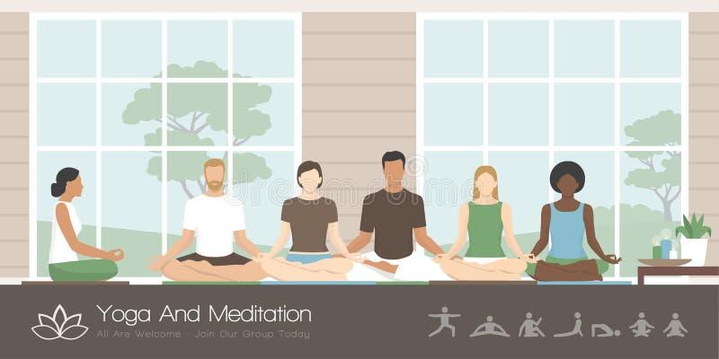 Ioga e meditação praticando dos povos ilustração do vetor