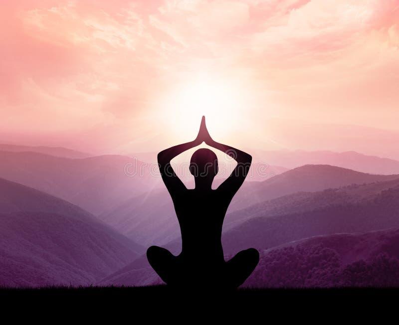 Ioga e meditação Silhueta foto de stock