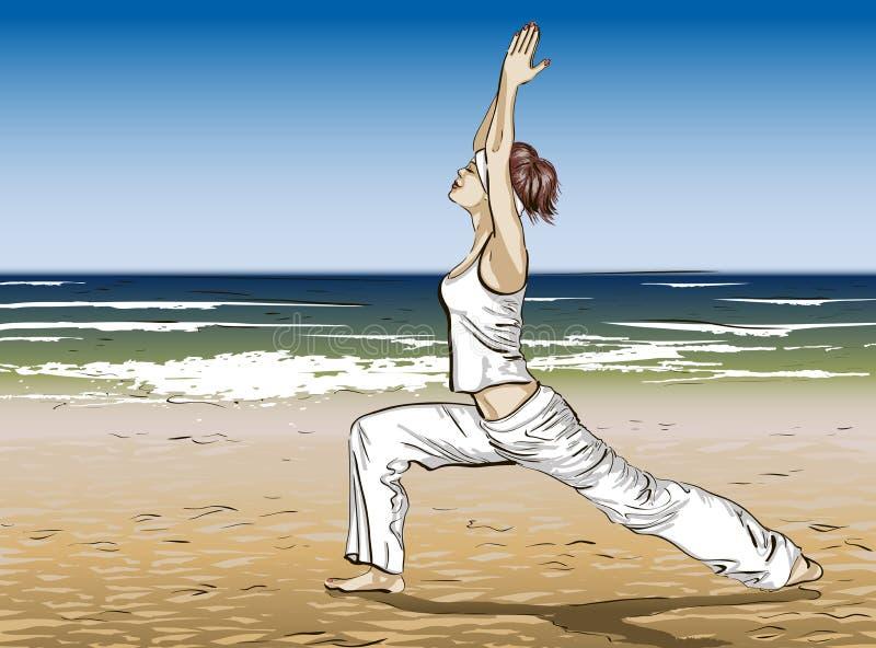Ioga em uma praia do verão ilustração stock