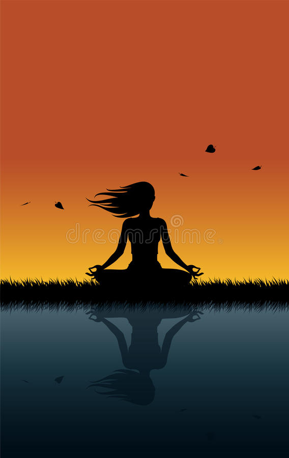 Ioga em Windy Sunset ilustração do vetor