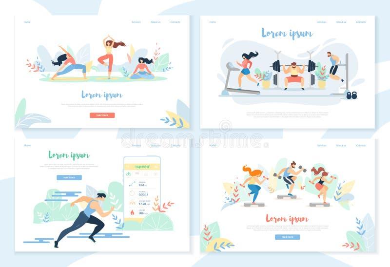 Ioga, exercitando no Gym, dist?ncia de corrida do velocista ilustração royalty free