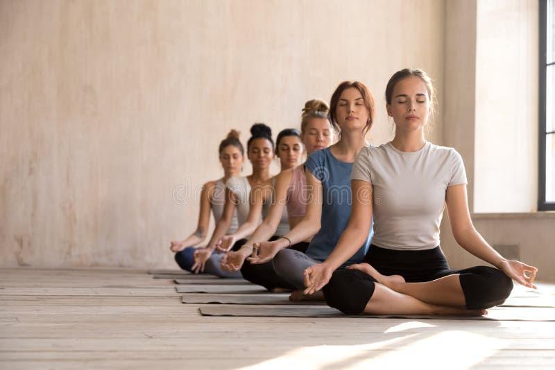 Ioga fêmea calma da prática do iogue na posição de lótus junto foto de stock royalty free