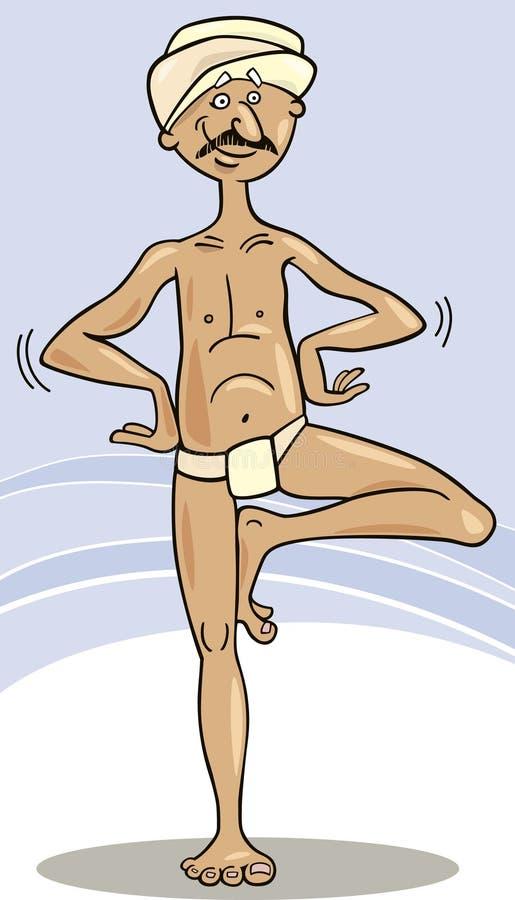 Ioga Hindu da prática do homem ilustração do vetor