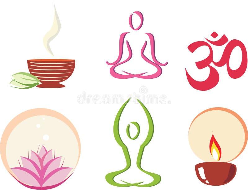 Ioga, jogo do conceito da meditação dos ícones ilustração royalty free