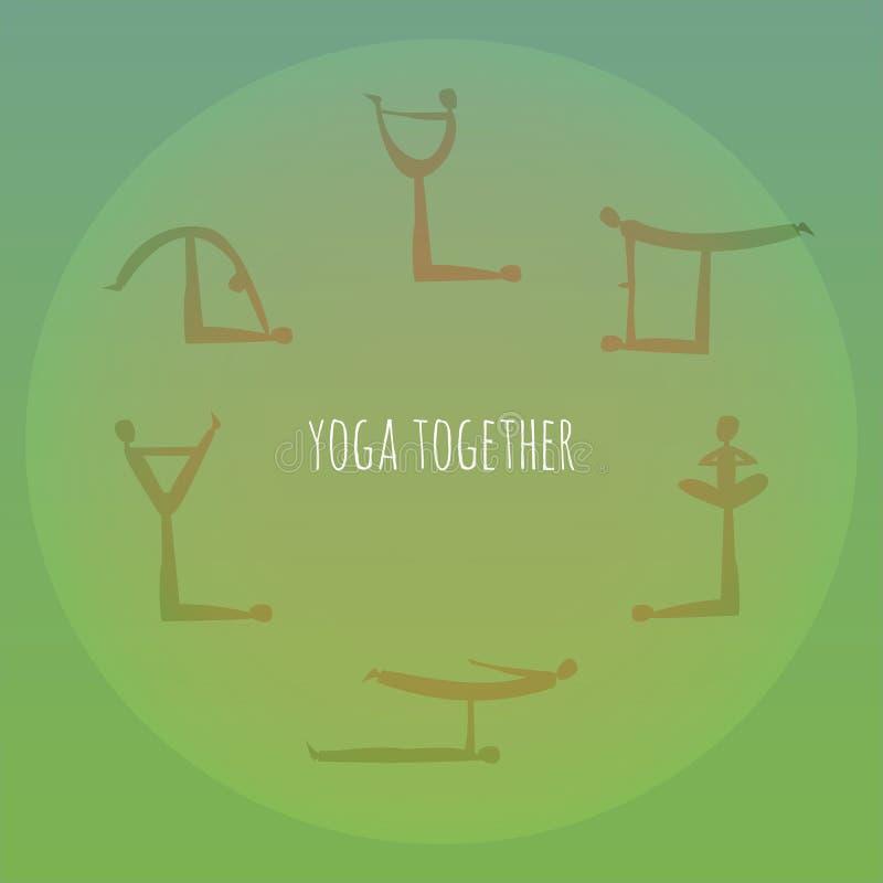 Ioga junto Prática do asana da ioga de Acro Vetor ilustração stock