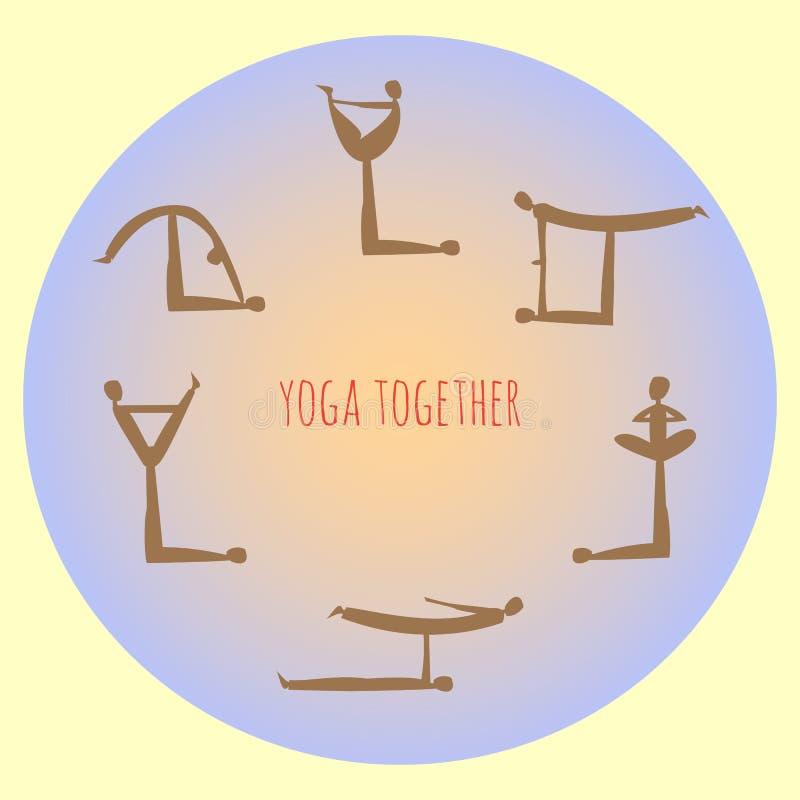 Ioga junto Prática do asana da ioga de Acro Vetor ilustração do vetor