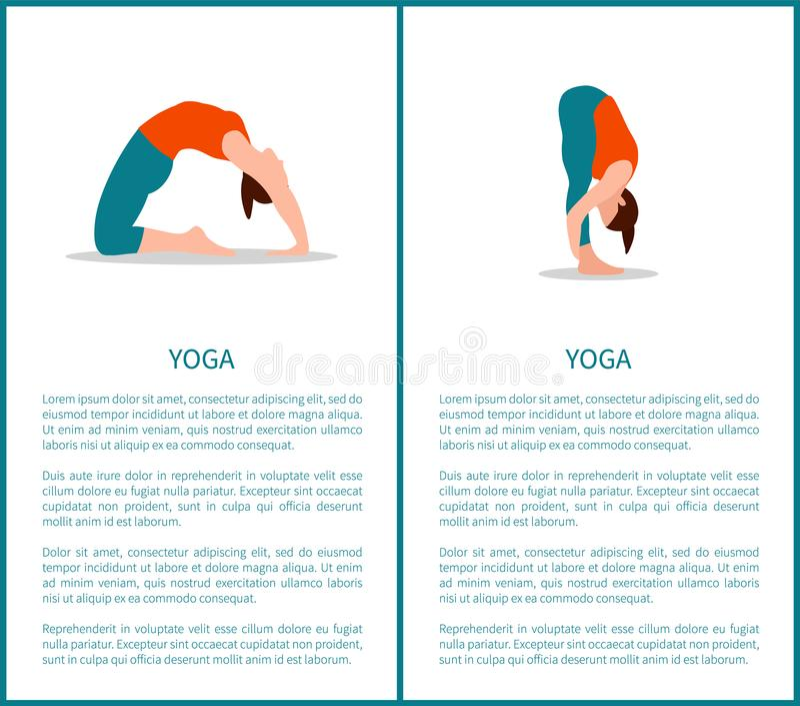 A ioga levanta a ilustração do vetor da coleção das bandeiras ilustração stock