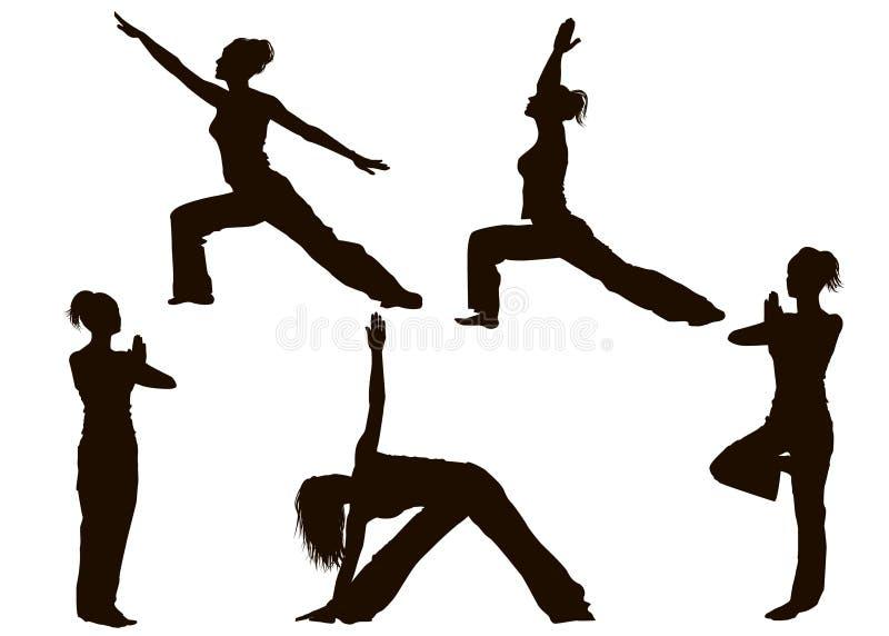 A ioga levanta silhuetas ilustração stock