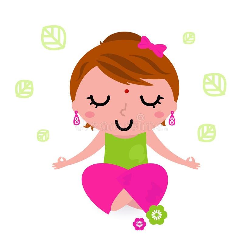 Ioga meditating e praticando da menina ilustração do vetor