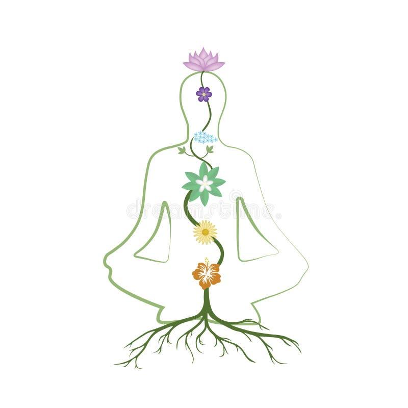 A ioga, o abrandamento e a meditação praticando vector a ilustração ilustração do vetor