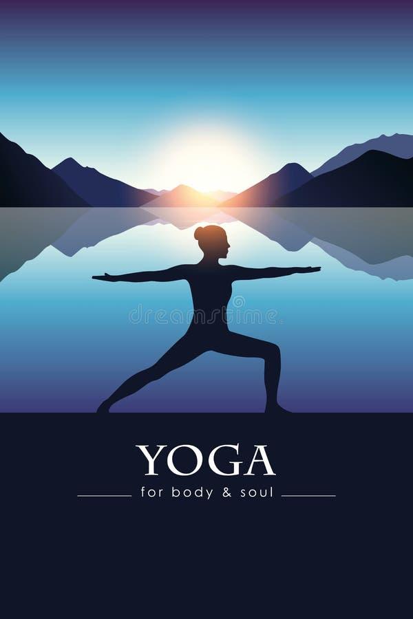 Ioga para o corpo e a alma que meditam a silhueta da menina pelo lago com paisagem azul da montanha ilustração royalty free