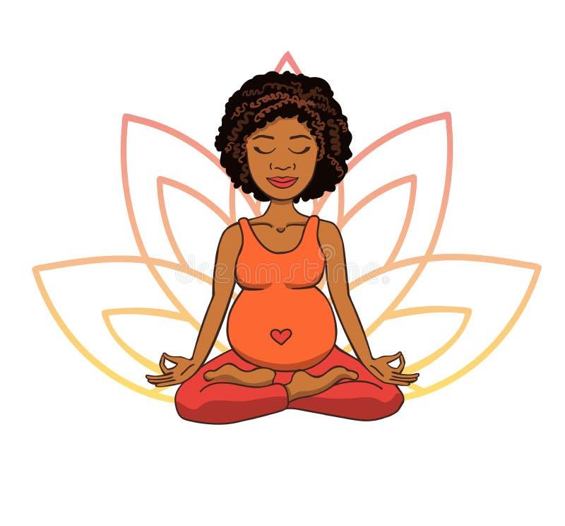 Ioga pré-natal Vector a ilustração da menina africana bonito nova que medita na posição de lótus com as pétalas da flor em g cor- ilustração stock