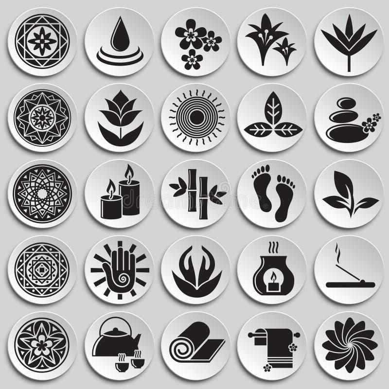 A ioga relacionou os ícones ajustados no fundo das placas para o gráfico e o design web Sinal simples do vetor S?mbolo do conceit ilustração do vetor