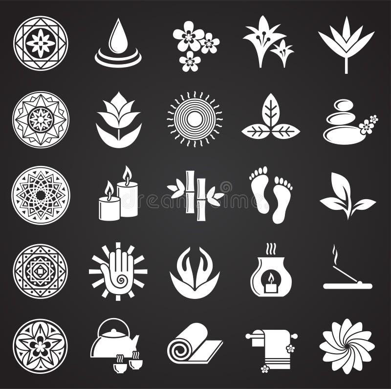 A ioga relacionou os ícones ajustados no fundo preto para o gráfico e o design web Sinal simples do vetor S?mbolo do conceito do  ilustração stock