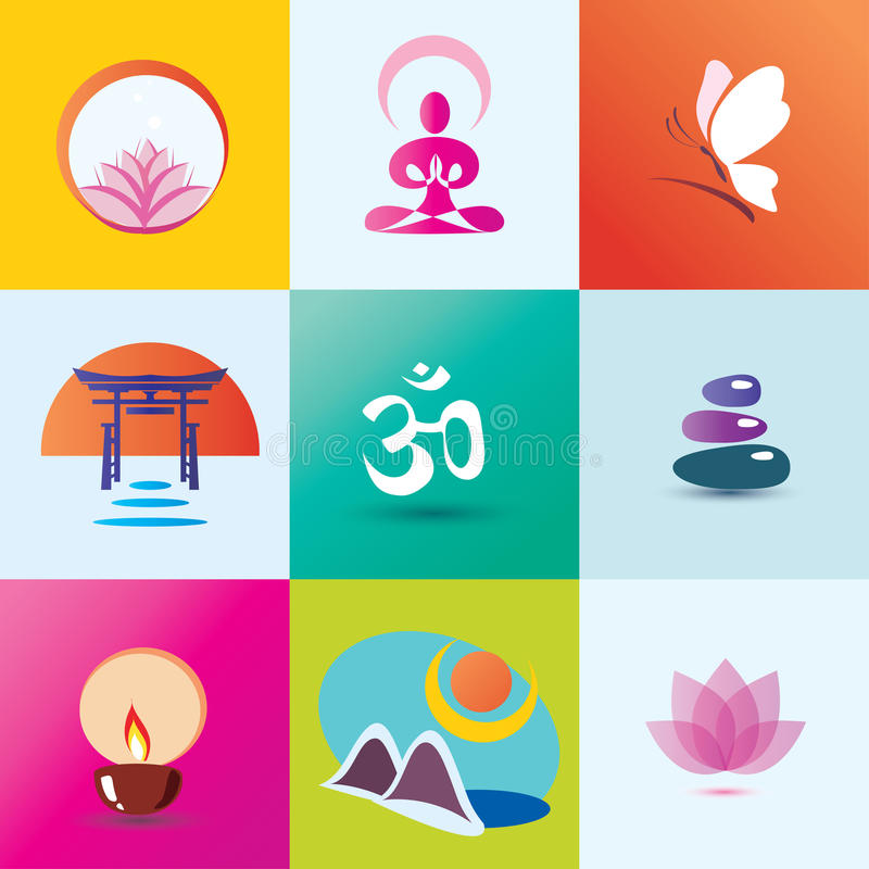 Ioga, termas, meditação e conceito oriental ilustração royalty free