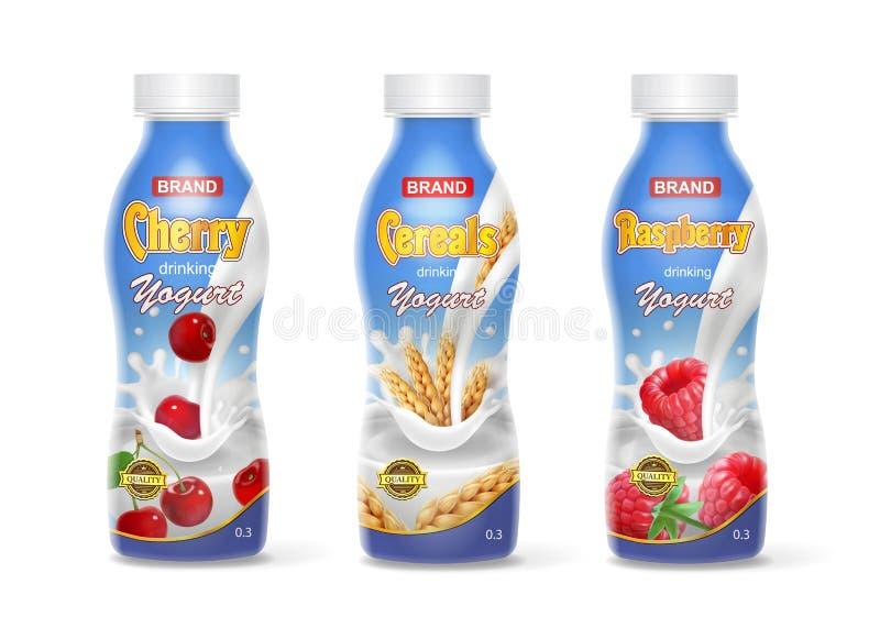 Iogurte bebendo em umas garrafas ajustadas com fruto e bagas Cereja, framboesa e cereais ilustração do vetor