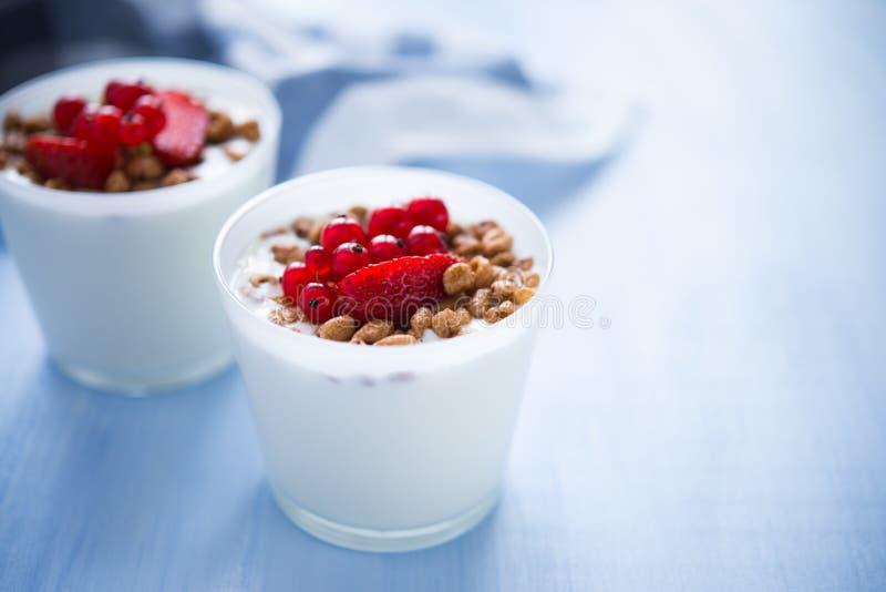 Iogurte caseiro com cereais e bagas (café da manhã saudável) imagem de stock royalty free