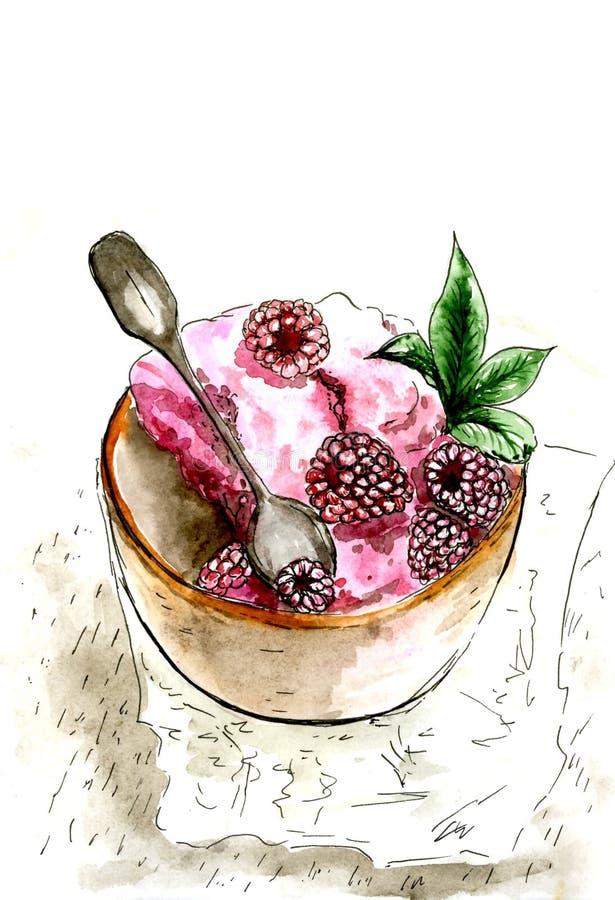 Iogurte com framboesas e folhas de hortelã Pintado na aquarela ilustração do vetor