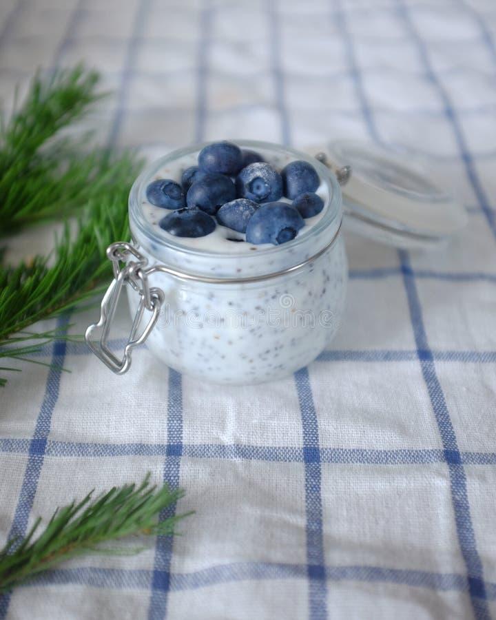 Iogurte com mirtilos e sementes do chia fotos de stock