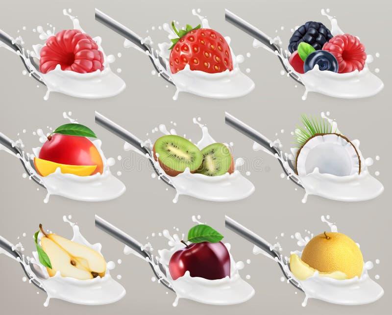 Iogurte do fruto e das bagas Respingo do leite grupo do ícone do vetor 3d ilustração do vetor