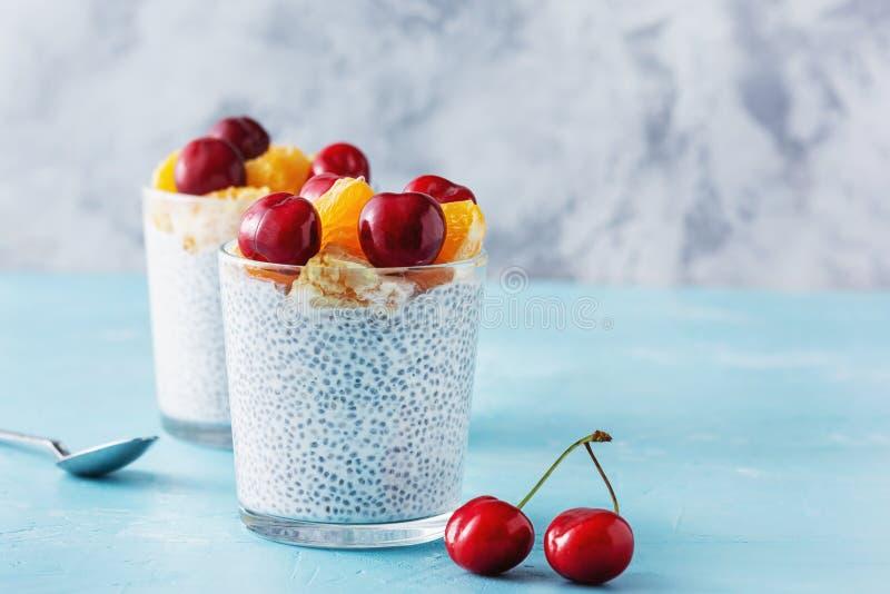 Iogurte grego dietético com Chia Seeds Superfood foto de stock royalty free