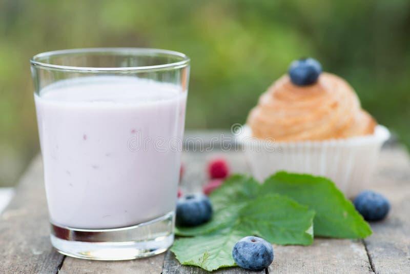 Iogurte natural com bagas e os queques frescos Copie o espaço fotos de stock