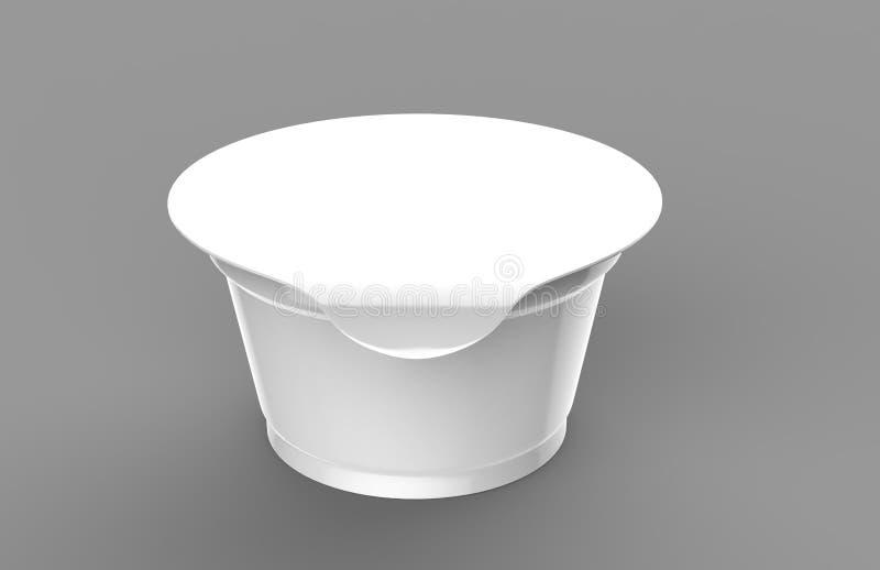 Iogurte vazio branco, gelado ou pacote ácido da nata no fundo branco 3D zombam acima do recipiente com a tampa isolada Molde para ilustração stock