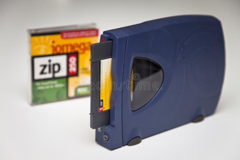 Iomega Zip 250 Drive, Disk and Jewel Case stock photography