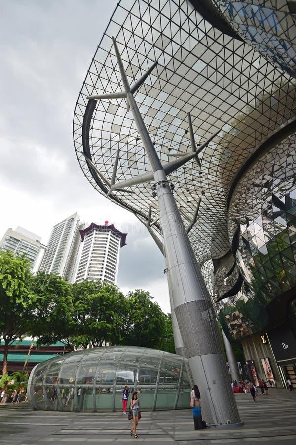 ION Orchard shoppinggalleria Singapore som vertikalt från inre tas arkivfoto