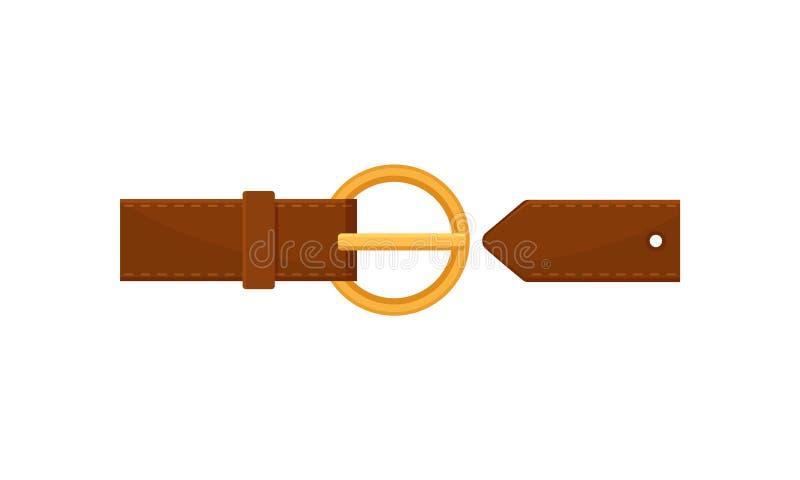 Ion plat de vecteur de ceinture en cuir brune élégante avec la boucle d'or de cercle Accessoire à la mode Élément d'habillement illustration libre de droits