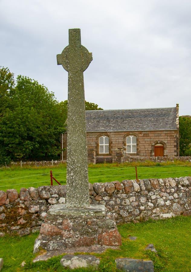 Celtic cross.Isle of Iona,near Mull, Argyll and Bute,Scotland,UK. stock photos