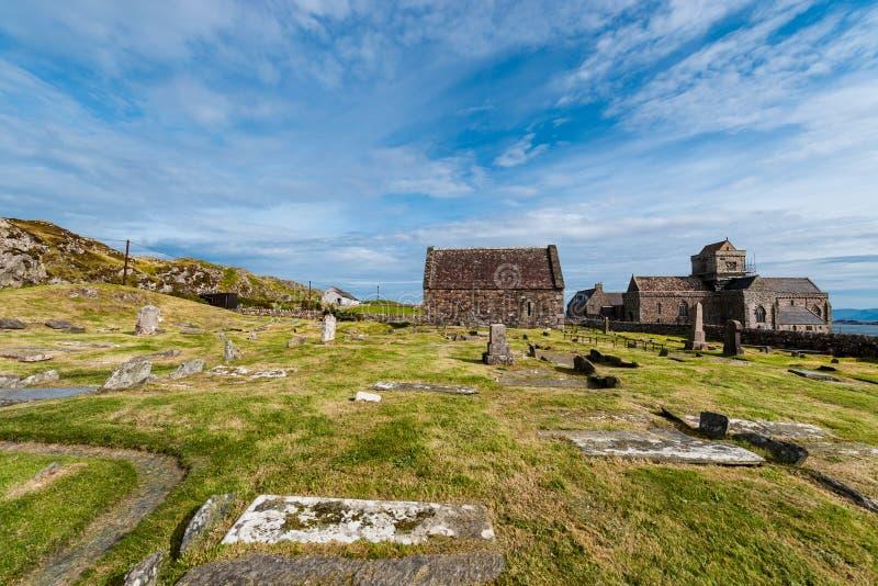 Iona Abbey, ilha santamente de Iona, Escócia fotografia de stock royalty free