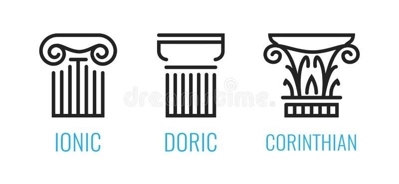 Ionenaufträge von altem Griechenland Ionen, Dorian, Corintian-Spalte lineart Formen lokalisiert auf weißem Hintergrund lizenzfreie abbildung