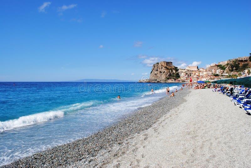 Pebbly beach and tropical sea. Calabria, Italy stock photo