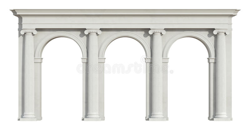 Ionic colonnade on white. Ionic colonnade with three arch on white - 3D Rendering vector illustration