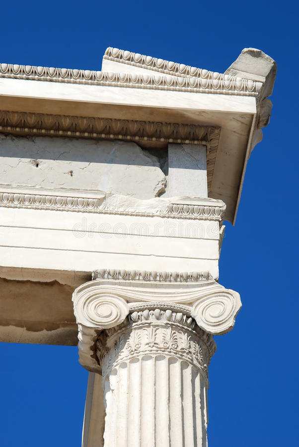 Ionic Column from Acropolis erechtheum stock images