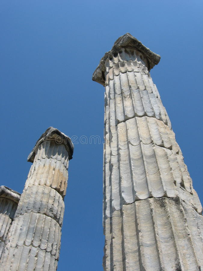 Ionic columns against blue sky, ancient city Priene, Turkey stock image